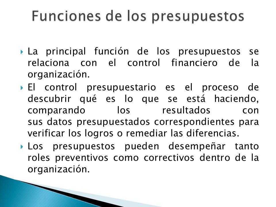 La principal función de los presupuestos se relaciona con el control financiero de la organización. El control presupuestario es el proceso de descubr