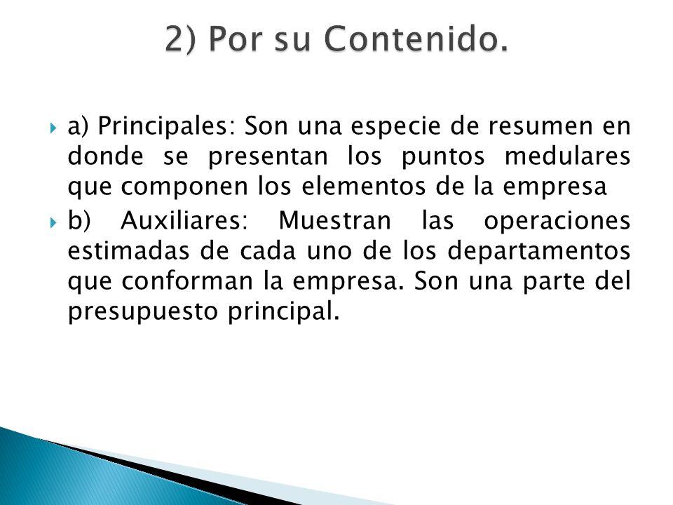 a) Principales: Son una especie de resumen en donde se presentan los puntos medulares que componen los elementos de la empresa b) Auxiliares: Muestran