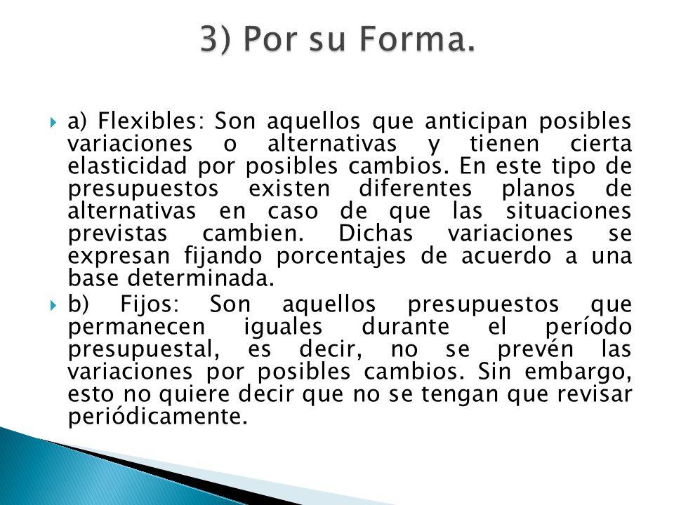 a) Flexibles: Son aquellos que anticipan posibles variaciones o alternativas y tienen cierta elasticidad por posibles cambios. En este tipo de presupu