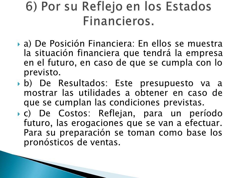 a) De Posición Financiera: En ellos se muestra la situación financiera que tendrá la empresa en el futuro, en caso de que se cumpla con lo previsto. b