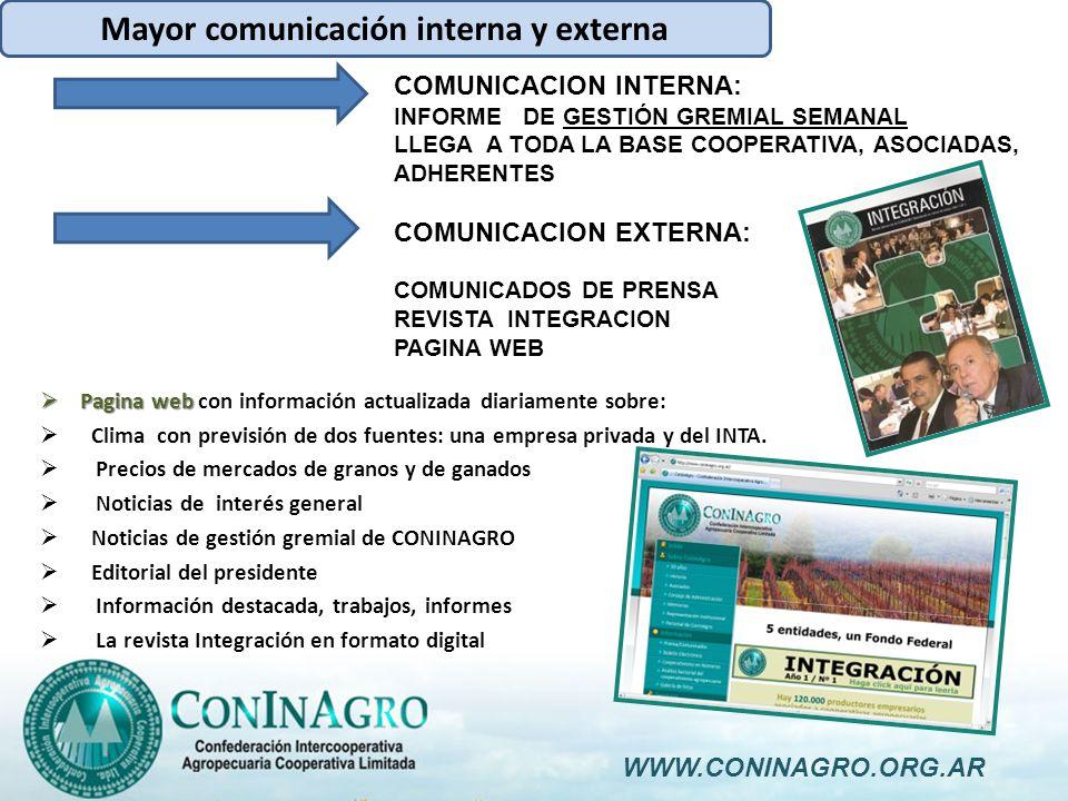 Mayor comunicación interna y externa Pagina web Pagina web con información actualizada diariamente sobre: Clima con previsión de dos fuentes: una empresa privada y del INTA.