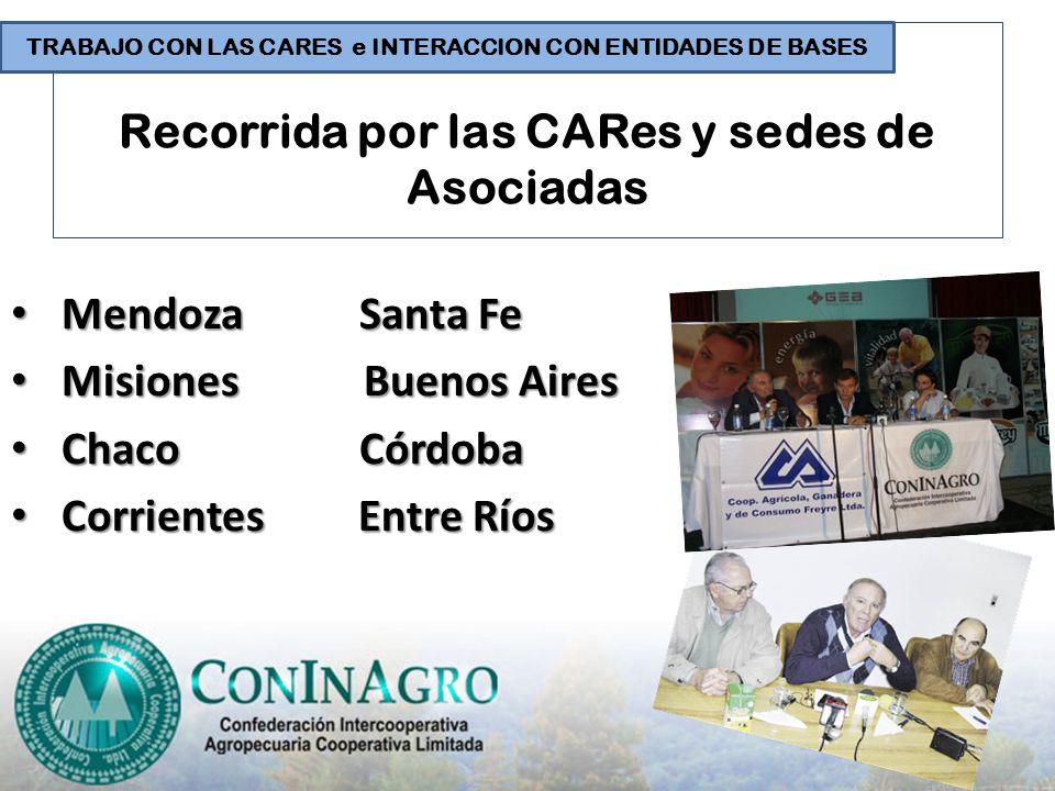Recorrida por las CARes y sedes de Asociadas Mendoza Santa Fe Mendoza Santa Fe Misiones Buenos Aires Misiones Buenos Aires Chaco Córdoba Chaco Córdoba