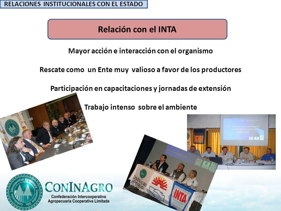 Relación con el INTA Mayor acción e interacción con el organismo Rescate como un Ente muy valioso a favor de los productores Participación en capacitaciones y jornadas de extensión Trabajo intenso sobre el ambiente Mayor acción y gestión acentuaron la interacción con el organismo.