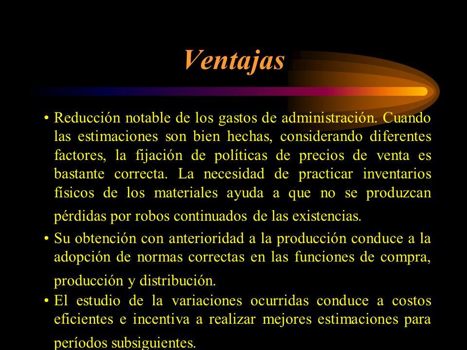 Variaciones Las variaciones podrán ser absorbidas a través del almacén de artículos terminados y del costo de producción de lo vendido, y de la produc