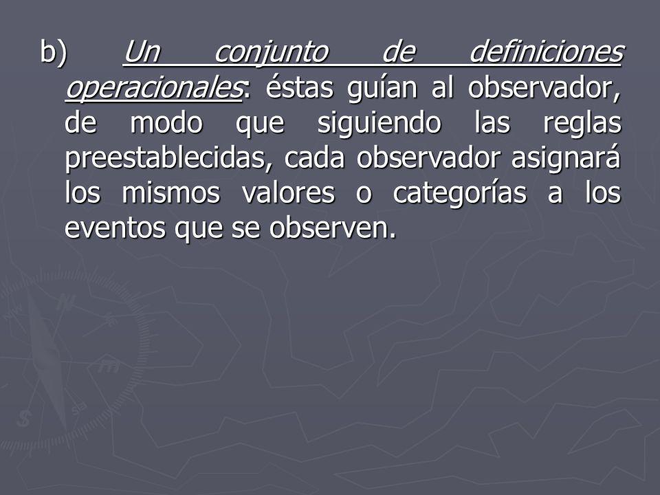 b) Un conjunto de definiciones operacionales: éstas guían al observador, de modo que siguiendo las reglas preestablecidas, cada observador asignará lo