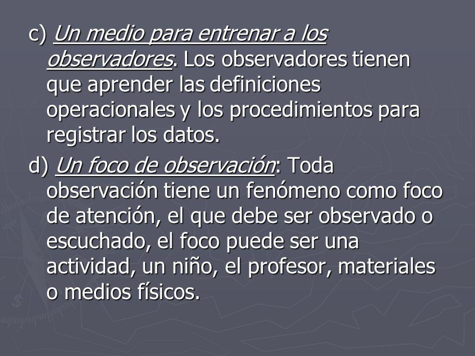 c) Un medio para entrenar a los observadores. Los observadores tienen que aprender las definiciones operacionales y los procedimientos para registrar