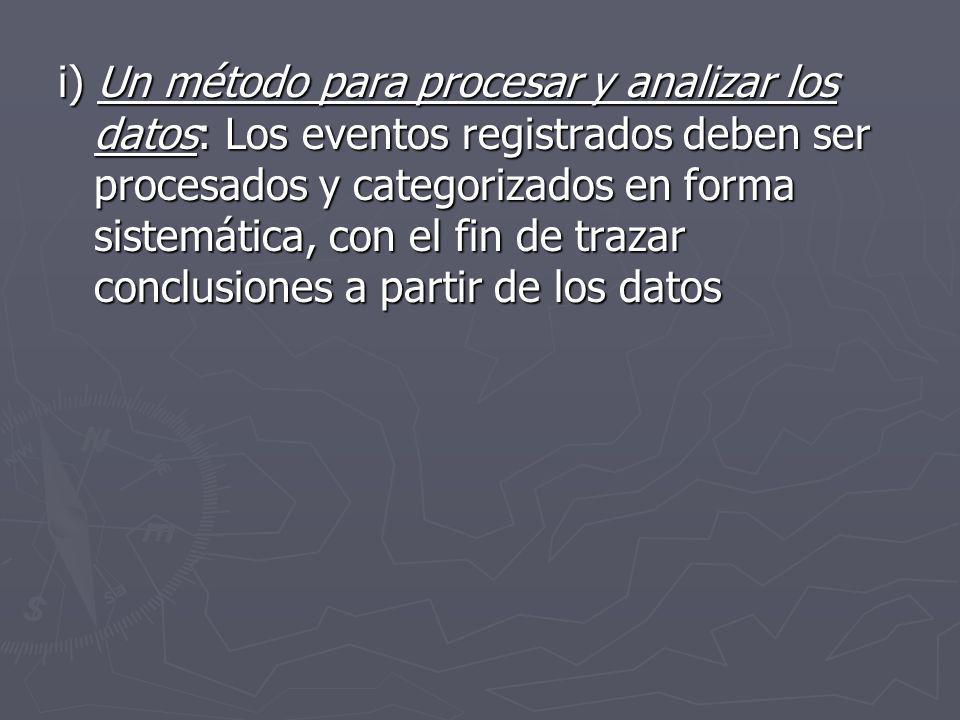 i) Un método para procesar y analizar los datos: Los eventos registrados deben ser procesados y categorizados en forma sistemática, con el fin de traz
