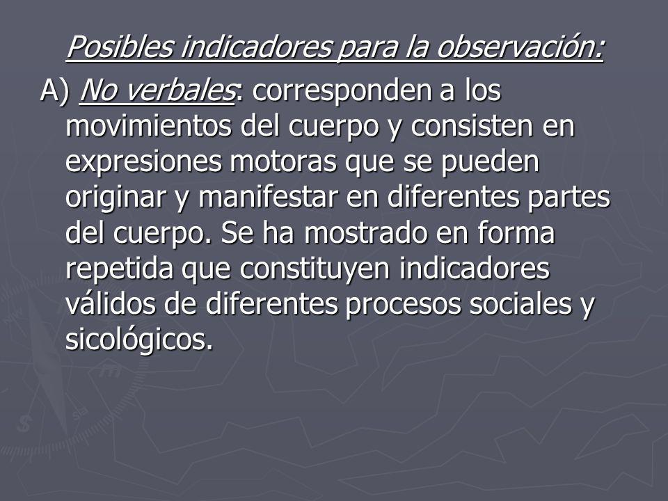 Posibles indicadores para la observación: A) No verbales: corresponden a los movimientos del cuerpo y consisten en expresiones motoras que se pueden o