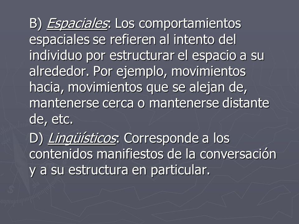 B) Espaciales: Los comportamientos espaciales se refieren al intento del individuo por estructurar el espacio a su alrededor. Por ejemplo, movimientos