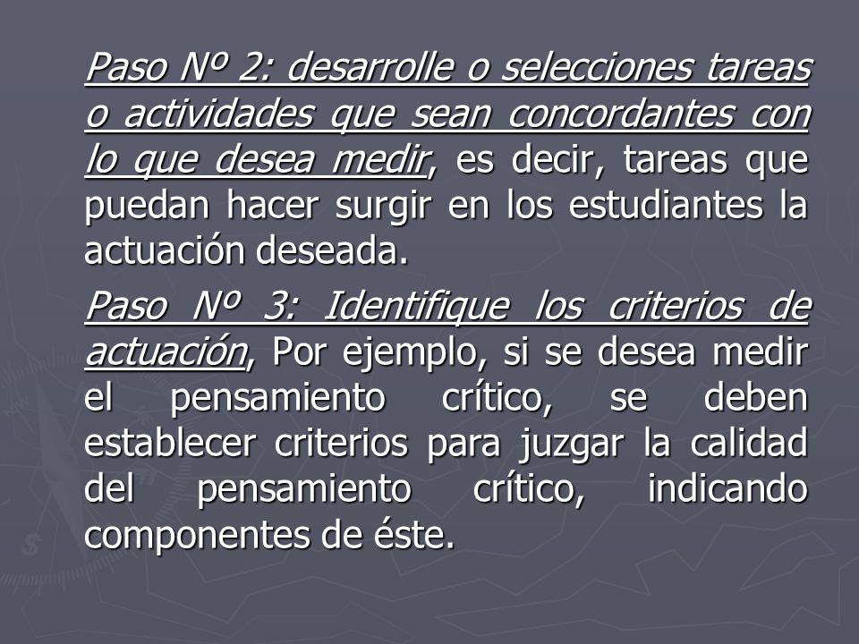 Paso Nº 2: desarrolle o selecciones tareas o actividades que sean concordantes con lo que desea medir, es decir, tareas que puedan hacer surgir en los