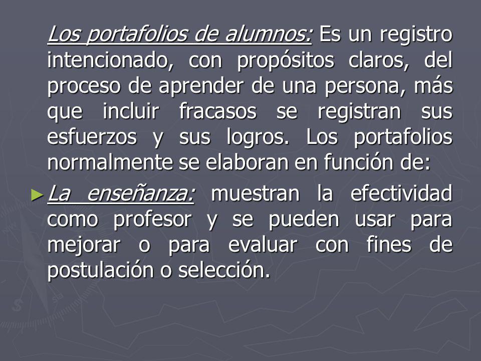 Los portafolios de alumnos: Es un registro intencionado, con propósitos claros, del proceso de aprender de una persona, más que incluir fracasos se re