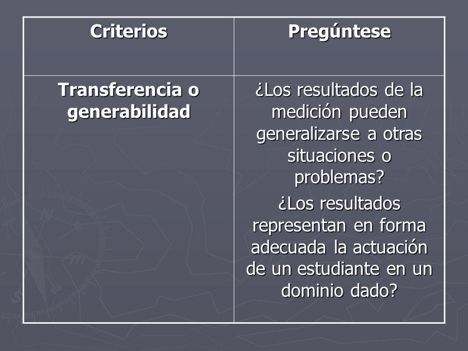 CriteriosPregúntese Transferencia o generabilidad ¿Los resultados de la medición pueden generalizarse a otras situaciones o problemas? ¿Los resultados