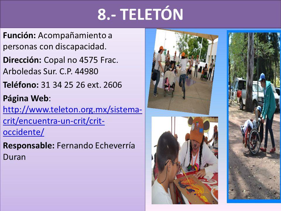 8.- TELETÓN Función: Acompañamiento a personas con discapacidad.