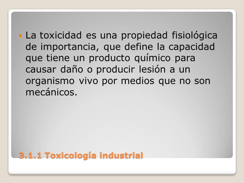 3.1.1 Toxicología industrial 3.1.1 Toxicología industrial La toxicidad es una propiedad fisiológica de importancia, que define la capacidad que tiene