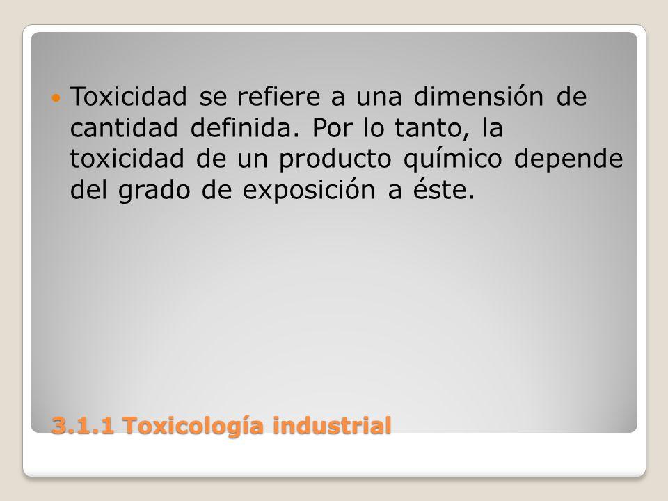 3.1.1 Toxicología industrial 3.1.1 Toxicología industrial Toxicidad se refiere a una dimensión de cantidad definida. Por lo tanto, la toxicidad de un
