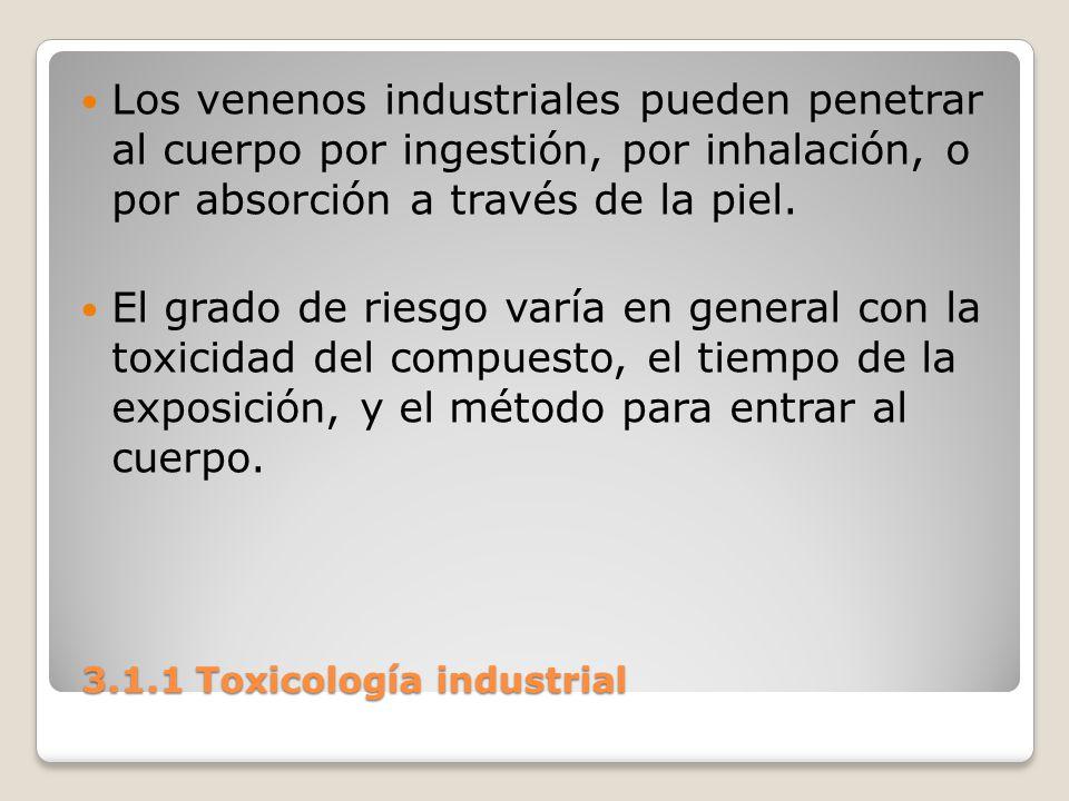 3.1.1 Toxicología industrial 3.1.1 Toxicología industrial Los venenos industriales pueden penetrar al cuerpo por ingestión, por inhalación, o por abso