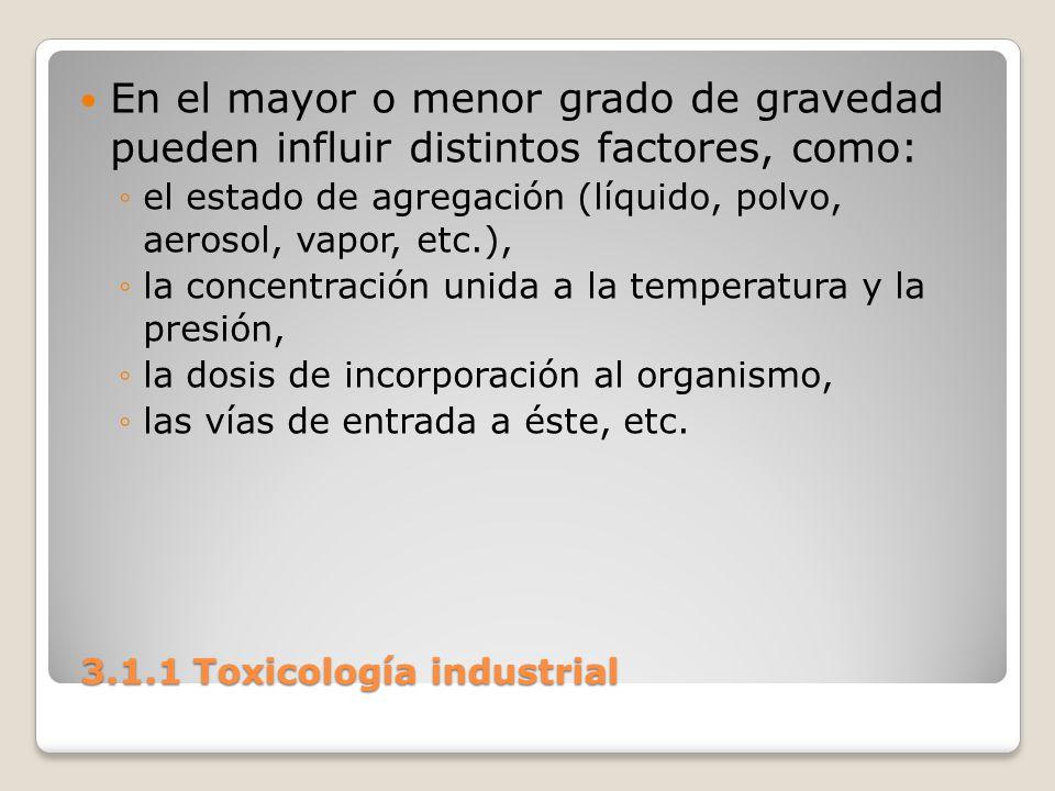 3.1.1 Toxicología industrial 3.1.1 Toxicología industrial En el mayor o menor grado de gravedad pueden influir distintos factores, como: el estado de