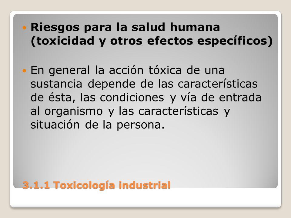 3.1.1 Toxicología industrial 3.1.1 Toxicología industrial Riesgos para la salud humana (toxicidad y otros efectos específicos) En general la acción tó
