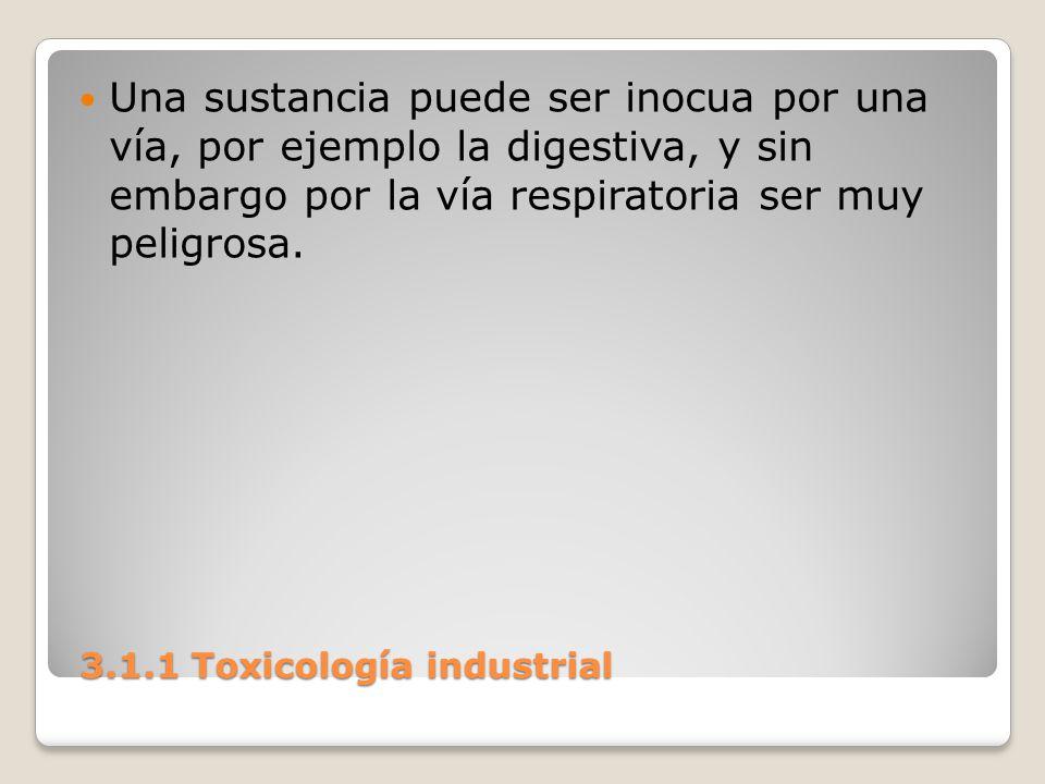 3.1.1 Toxicología industrial 3.1.1 Toxicología industrial Una sustancia puede ser inocua por una vía, por ejemplo la digestiva, y sin embargo por la v