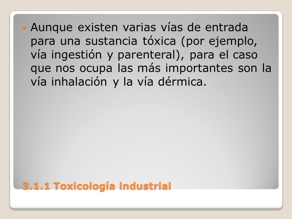 3.1.1 Toxicología industrial 3.1.1 Toxicología industrial Aunque existen varias vías de entrada para una sustancia tóxica (por ejemplo, vía ingestión