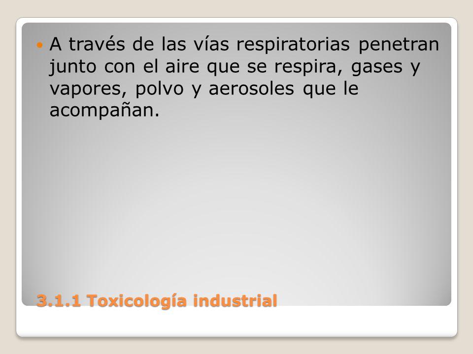 3.1.1 Toxicología industrial 3.1.1 Toxicología industrial A través de las vías respiratorias penetran junto con el aire que se respira, gases y vapore