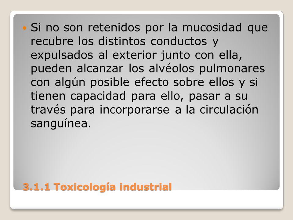 3.1.1 Toxicología industrial 3.1.1 Toxicología industrial Si no son retenidos por la mucosidad que recubre los distintos conductos y expulsados al ext