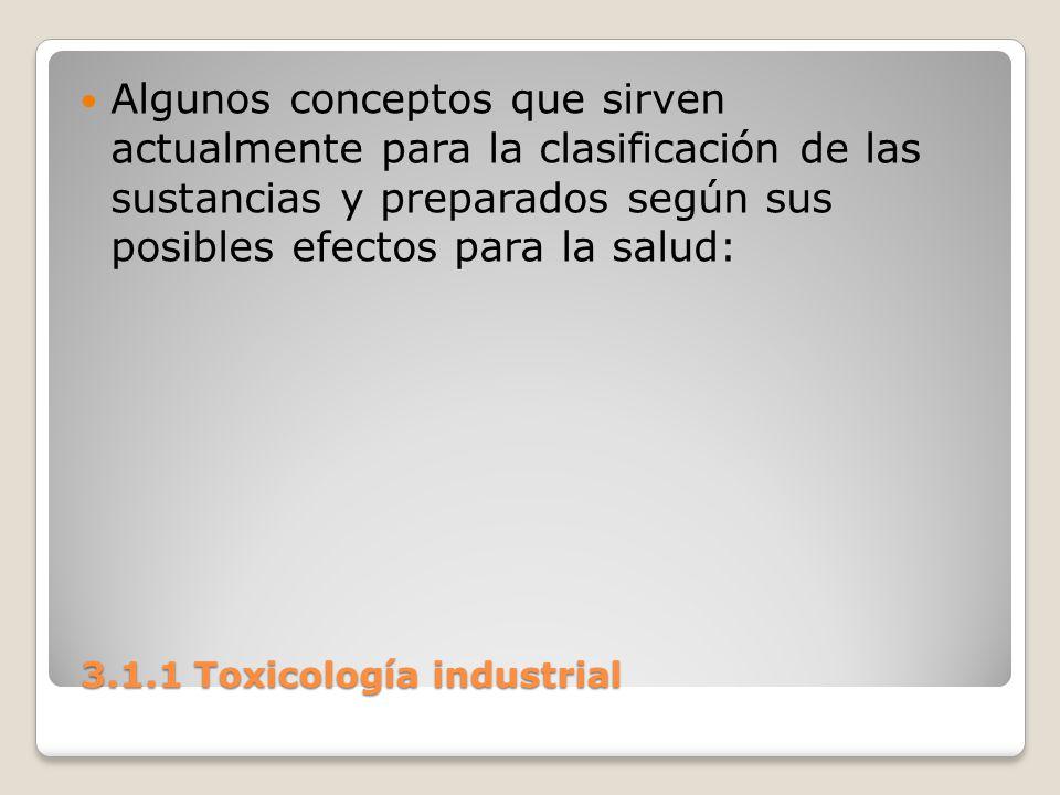 3.1.1 Toxicología industrial 3.1.1 Toxicología industrial Algunos conceptos que sirven actualmente para la clasificación de las sustancias y preparado