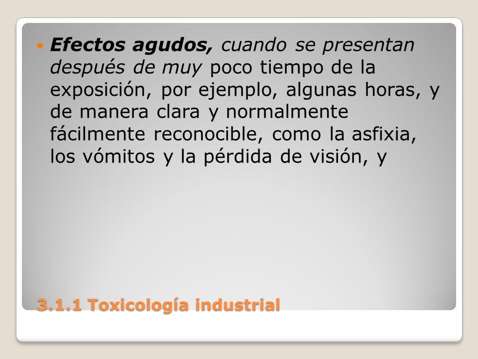 3.1.1 Toxicología industrial 3.1.1 Toxicología industrial Efectos agudos, cuando se presentan después de muy poco tiempo de la exposición, por ejemplo