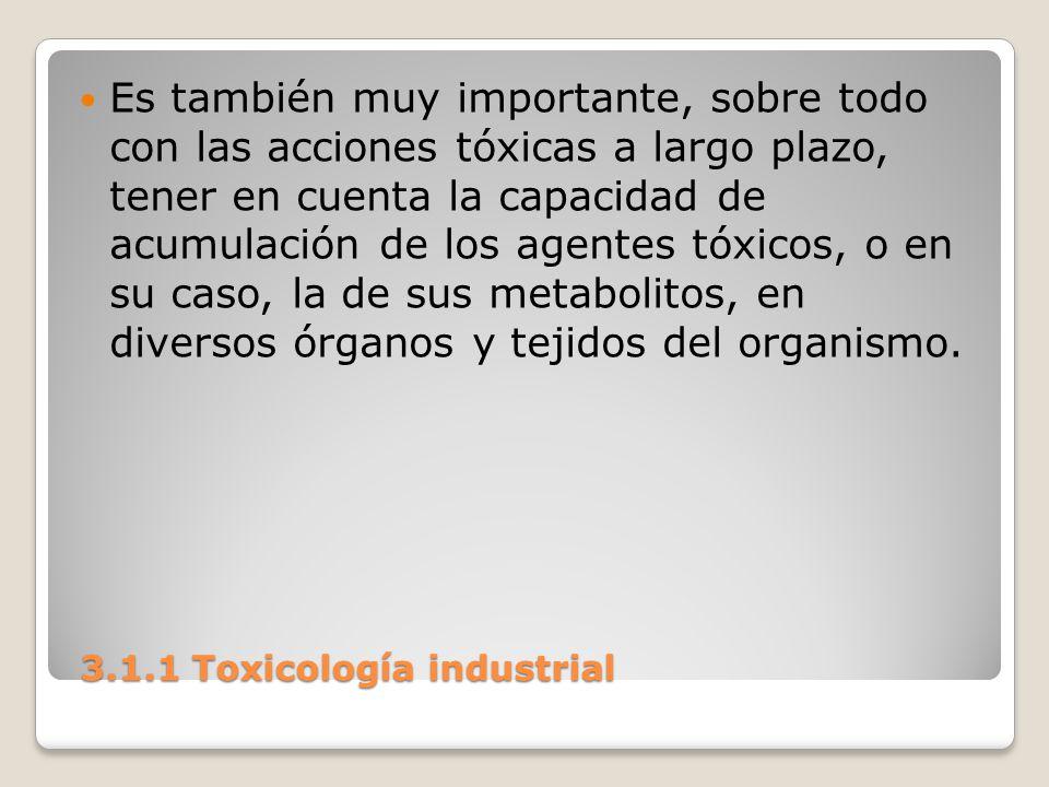 3.1.1 Toxicología industrial 3.1.1 Toxicología industrial Es también muy importante, sobre todo con las acciones tóxicas a largo plazo, tener en cuent