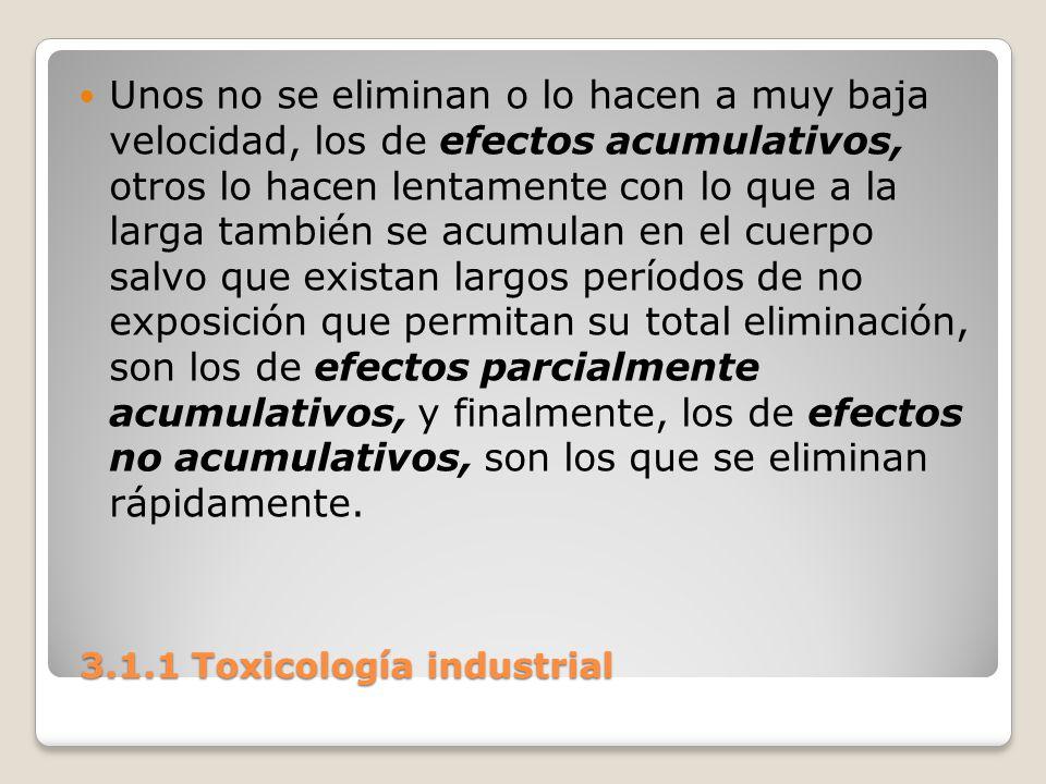 3.1.1 Toxicología industrial 3.1.1 Toxicología industrial Unos no se eliminan o lo hacen a muy baja velocidad, los de efectos acumulativos, otros lo h