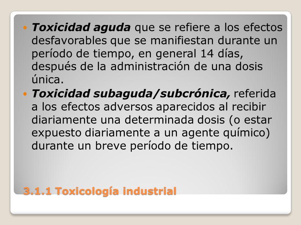 3.1.1 Toxicología industrial 3.1.1 Toxicología industrial Toxicidad aguda que se refiere a los efectos desfavorables que se manifiestan durante un per