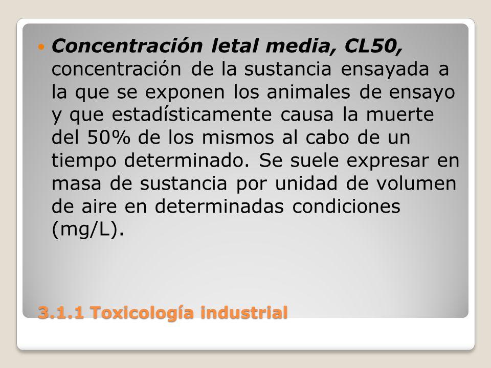 3.1.1 Toxicología industrial 3.1.1 Toxicología industrial Concentración letal media, CL50, concentración de la sustancia ensayada a la que se exponen