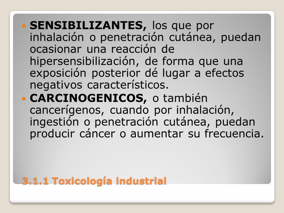3.1.1 Toxicología industrial 3.1.1 Toxicología industrial SENSIBILIZANTES, los que por inhalación o penetración cutánea, puedan ocasionar una reacción