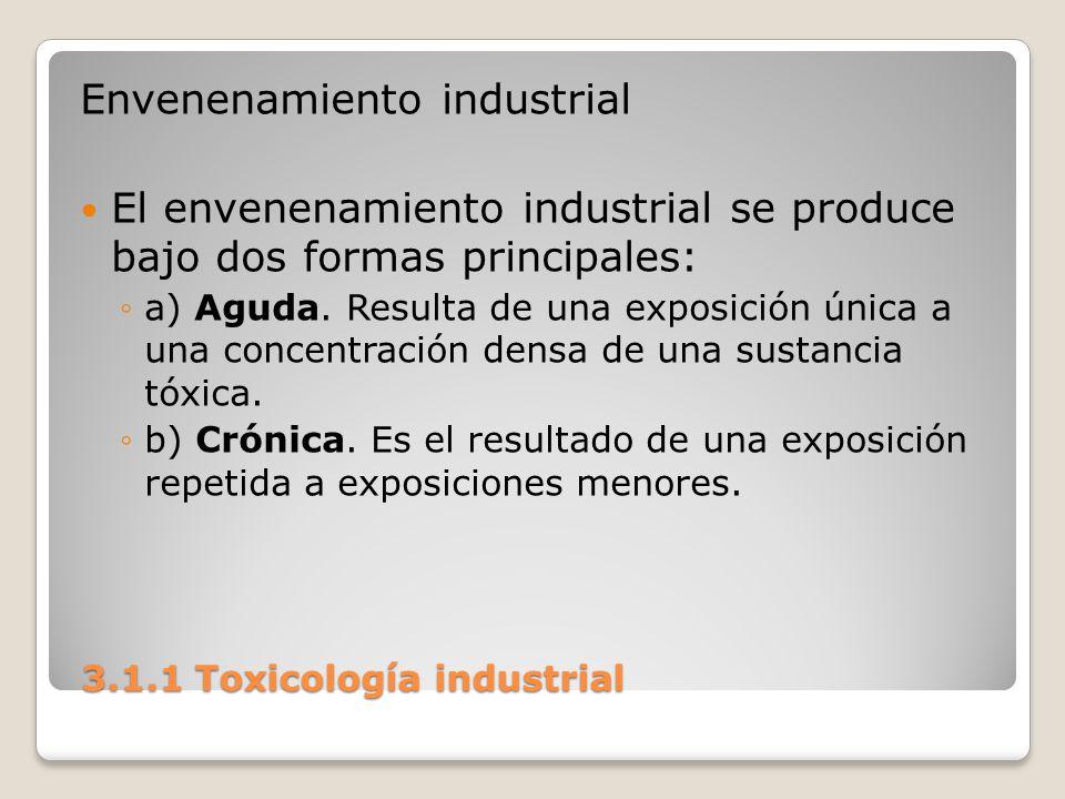 3.1.1 Toxicología industrial 3.1.1 Toxicología industrial Envenenamiento industrial El envenenamiento industrial se produce bajo dos formas principale