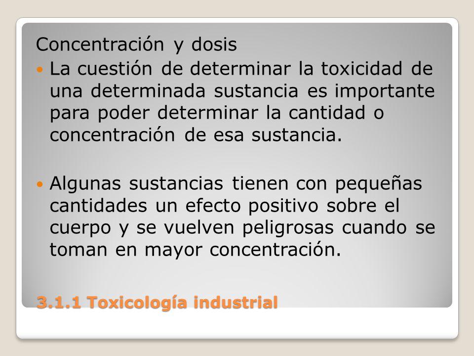 3.1.1 Toxicología industrial 3.1.1 Toxicología industrial Concentración y dosis La cuestión de determinar la toxicidad de una determinada sustancia es