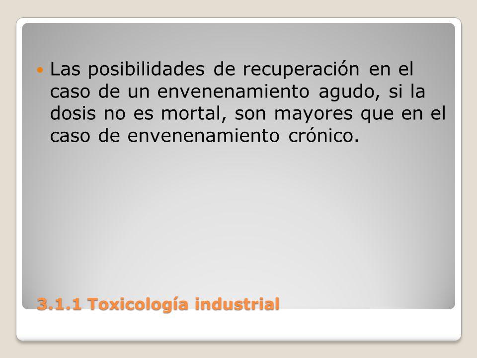 3.1.1 Toxicología industrial 3.1.1 Toxicología industrial Las posibilidades de recuperación en el caso de un envenenamiento agudo, si la dosis no es m