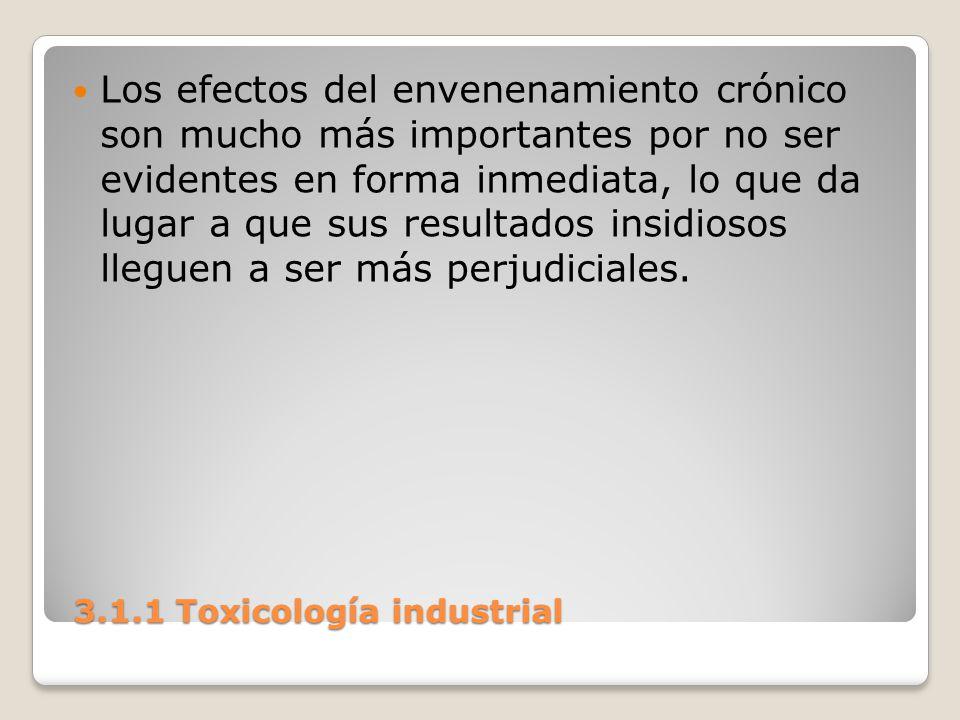 3.1.1 Toxicología industrial 3.1.1 Toxicología industrial Los efectos del envenenamiento crónico son mucho más importantes por no ser evidentes en for