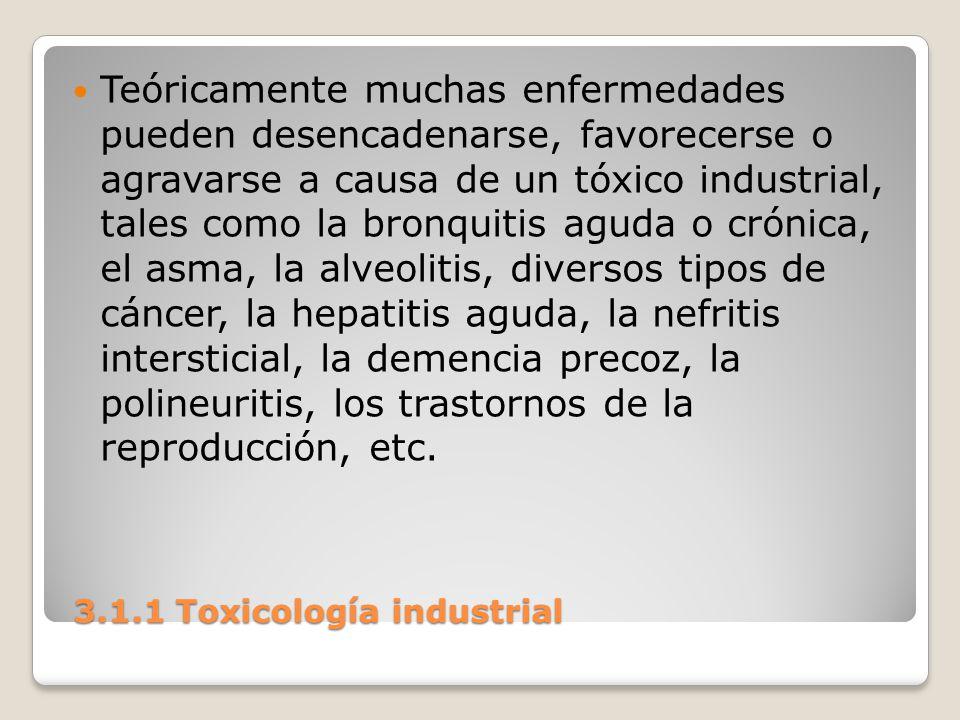 3.1.1 Toxicología industrial 3.1.1 Toxicología industrial Teóricamente muchas enfermedades pueden desencadenarse, favorecerse o agravarse a causa de u