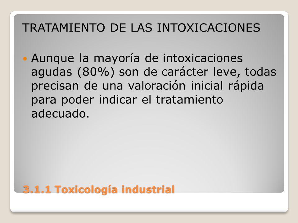 3.1.1 Toxicología industrial 3.1.1 Toxicología industrial TRATAMIENTO DE LAS INTOXICACIONES Aunque la mayoría de intoxicaciones agudas (80%) son de ca