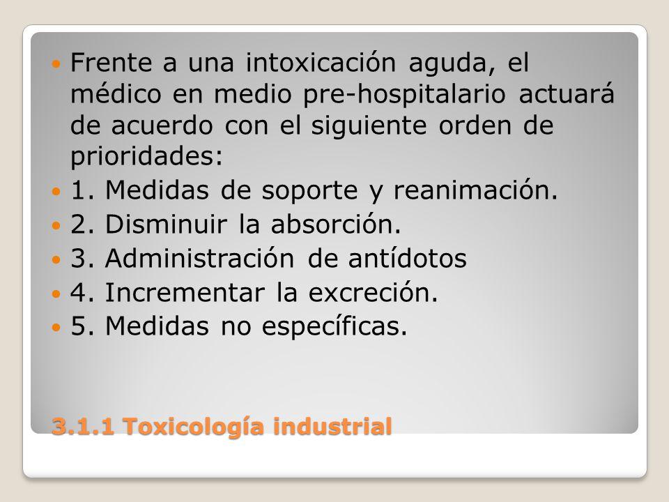 3.1.1 Toxicología industrial 3.1.1 Toxicología industrial Frente a una intoxicación aguda, el médico en medio pre-hospitalario actuará de acuerdo con
