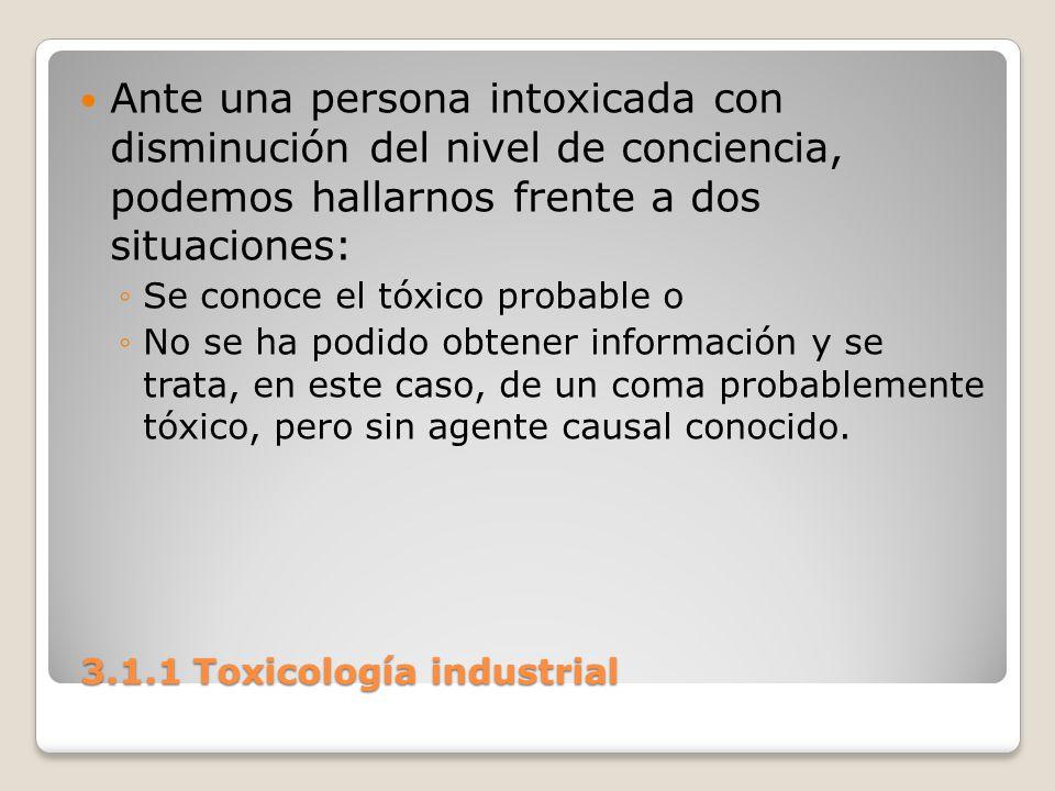 3.1.1 Toxicología industrial 3.1.1 Toxicología industrial Ante una persona intoxicada con disminución del nivel de conciencia, podemos hallarnos frent