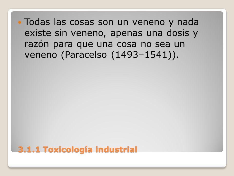 3.1.1 Toxicología industrial 3.1.1 Toxicología industrial Todas las cosas son un veneno y nada existe sin veneno, apenas una dosis y razón para que un