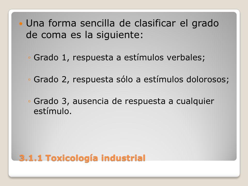 3.1.1 Toxicología industrial 3.1.1 Toxicología industrial Una forma sencilla de clasificar el grado de coma es la siguiente: Grado 1, respuesta a estí
