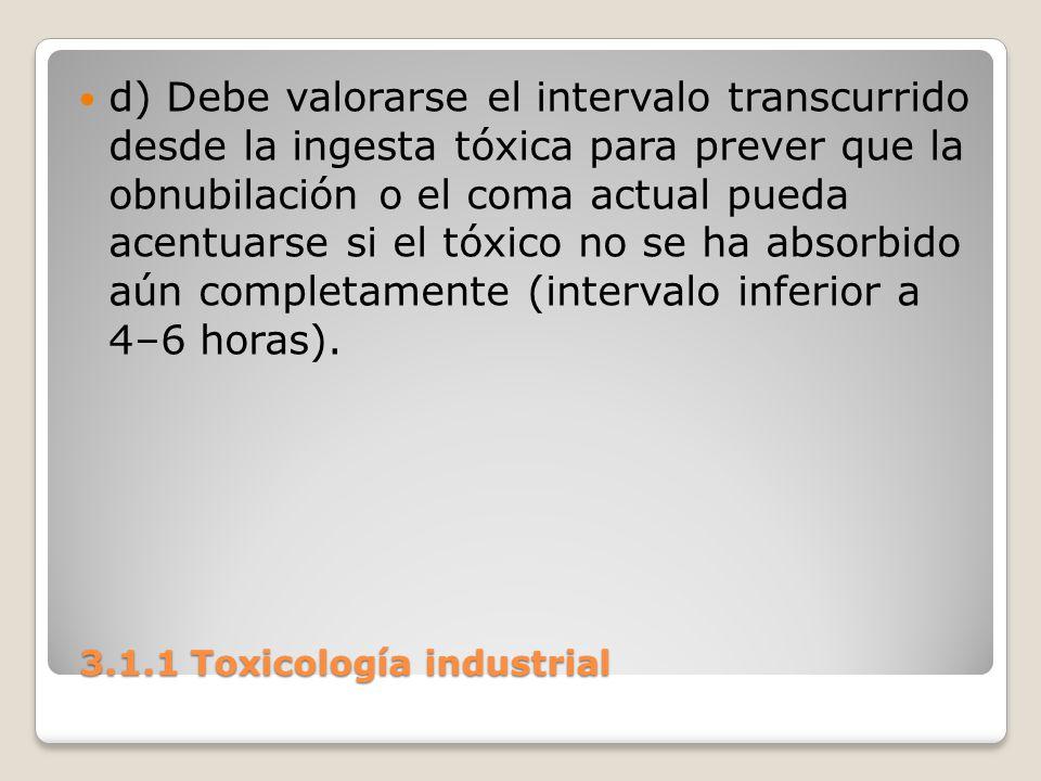 3.1.1 Toxicología industrial 3.1.1 Toxicología industrial d) Debe valorarse el intervalo transcurrido desde la ingesta tóxica para prever que la obnub