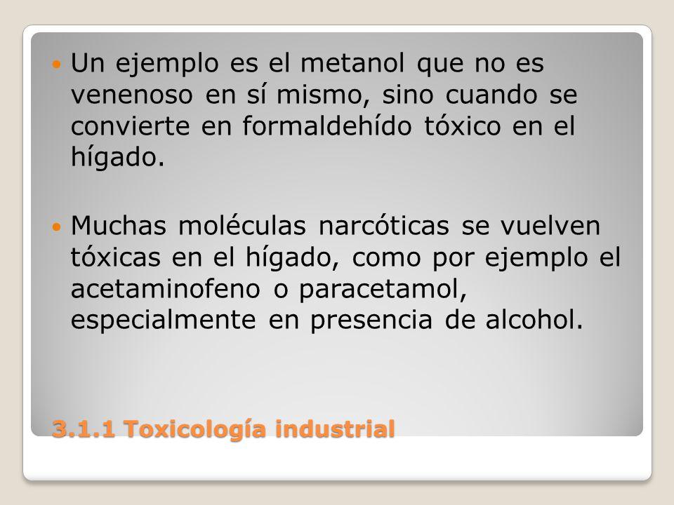 3.1.1 Toxicología industrial 3.1.1 Toxicología industrial Un ejemplo es el metanol que no es venenoso en sí mismo, sino cuando se convierte en formald