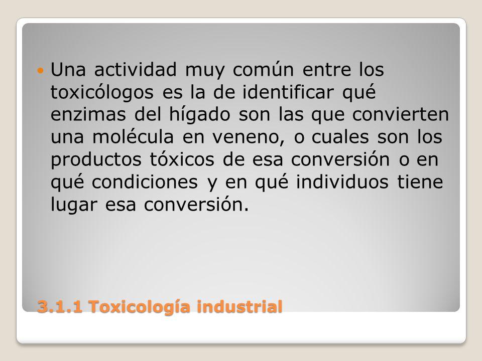 3.1.1 Toxicología industrial 3.1.1 Toxicología industrial Una actividad muy común entre los toxicólogos es la de identificar qué enzimas del hígado so