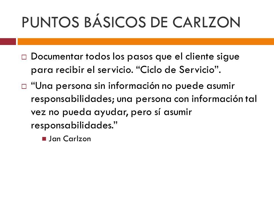 PUNTOS BÁSICOS DE CARLZON Documentar todos los pasos que el cliente sigue para recibir el servicio.