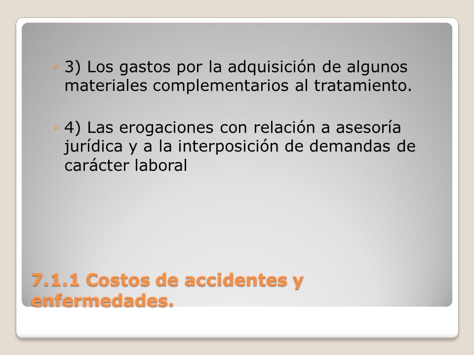 7.1.1 Costos de accidentes y enfermedades. 3) Los gastos por la adquisición de algunos materiales complementarios al tratamiento. 4) Las erogaciones c