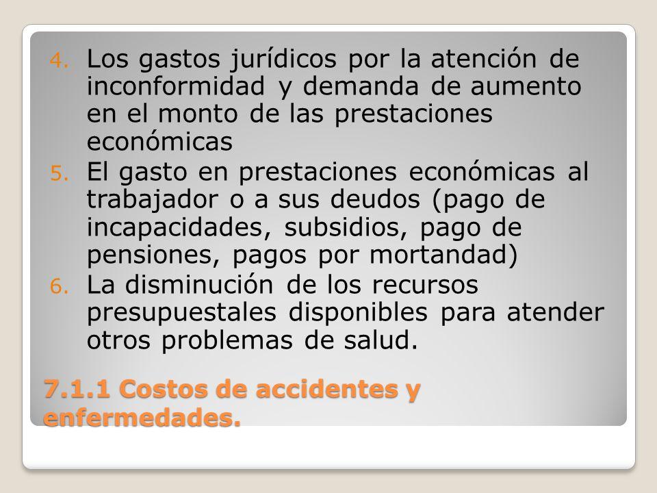 7.1.1 Costos de accidentes y enfermedades. 4. Los gastos jurídicos por la atención de inconformidad y demanda de aumento en el monto de las prestacion