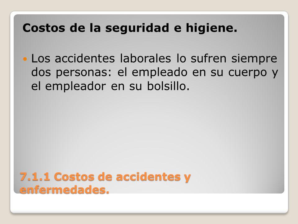 7.1.1 Costos de accidentes y enfermedades. Costos de la seguridad e higiene. Los accidentes laborales lo sufren siempre dos personas: el empleado en s